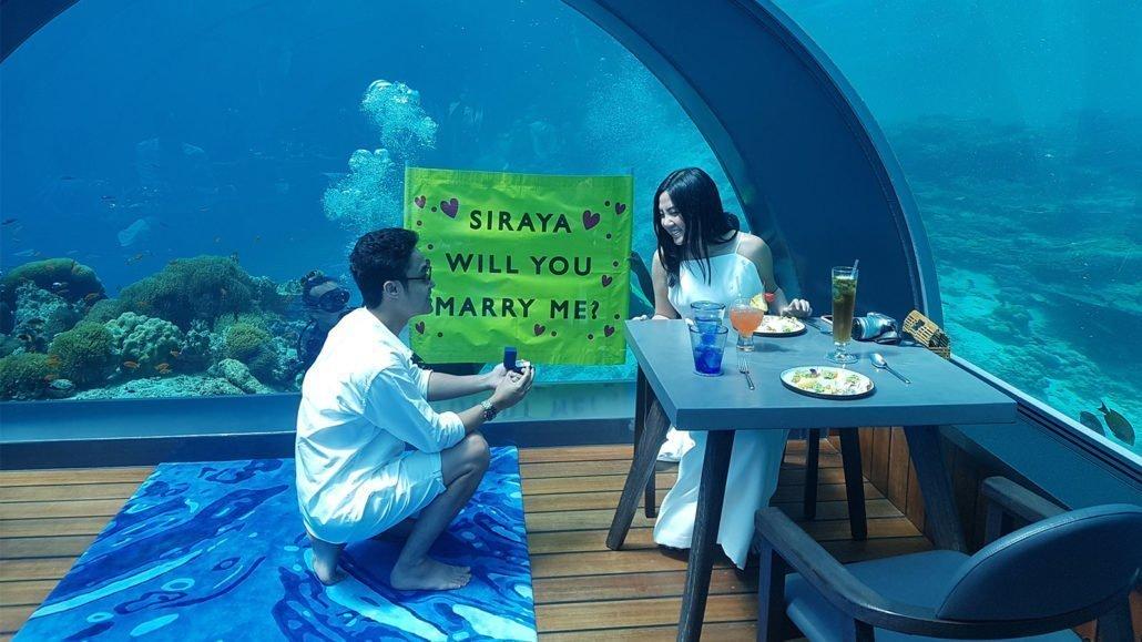 Hurawalhi Maldives undersea restaurant proposal